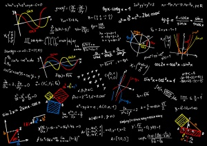 Blackboard with mathematics sketches - vector illustration