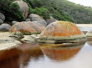 Granite boulders and reflections on Tidal River